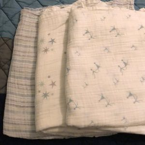 Set of 3 Aden & Anais swaddle blankets  cotton